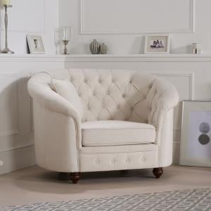 Astarik Chesterfield Sofa Chair In Ivory Fabric With Wooden Legs