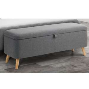 Astrid Linen Upholstered Storage Blanket Box In Grey