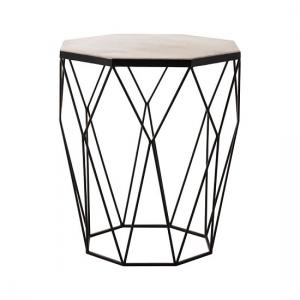 Astro Octagon Side Table In Marble Top With Matte Black Legs