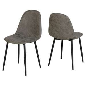 Athens Fabric Dining Chair In Grey Faux Leather In Pair
