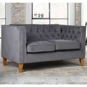 Atherton Fabric 2 Seater Sofa In Grey Velvet With Wooden Legs