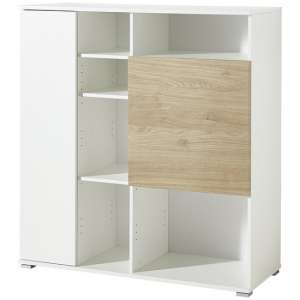 Athol Wooden Filing Storage Cabinet In White And Kendal Oak