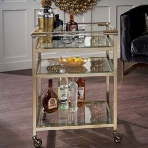 Atik Clear Glass Drinks Trolley In Antique Brass