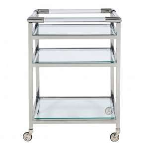 Atik Clear Glass Drinks Trolley In Nickel