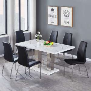Atlanta Dining Table In Marble Effect Gloss With 6 Black Chairs