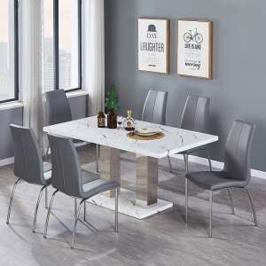 Atlanta Dining Table In Marble Effect Gloss With 6 Grey Chairs