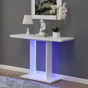 Atlantis LED High Gloss Console Table In White
