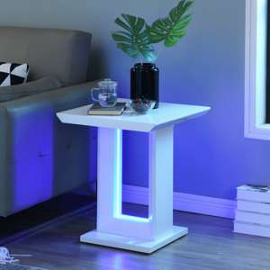 Atlantis LED High Gloss Lamp Table In White