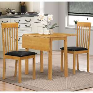 Atlas Dropleaf Dining Set In Oak With 2 Chairs