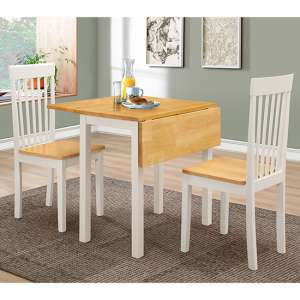 Atlas Dropleaf Dining Set In White And Oak With 2 Chairs