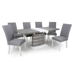 Atlas Extending Granite Effect Dining Table 6 Silver Grey Chairs