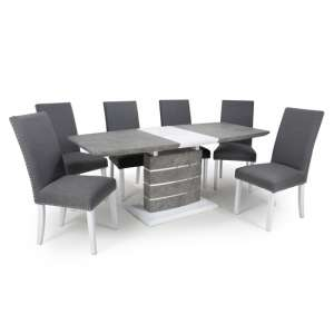 Atlas Extending Granite Effect Dining Table 6 Steel Grey Chairs