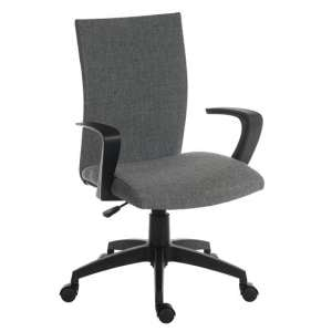 Atlas Fabric Home Office Chair In Grey With Castors
