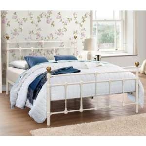 Atlas Steel Small Double Bed In Cream