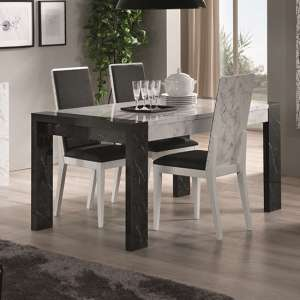 Attoria Gloss Black And White Marble Effect Dining Table 6 Chair