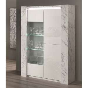 Attoria LED 2 Door Wooden Display Cabinet White Marble Effect