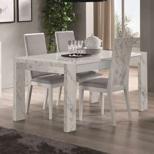Attoria Gloss White Marble Effect Dining Table With 6 Chairs