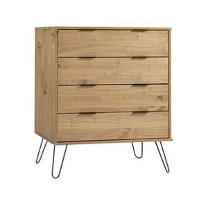 Augusta Chest Of Drawers In Waxed Pine With 4 Drawers