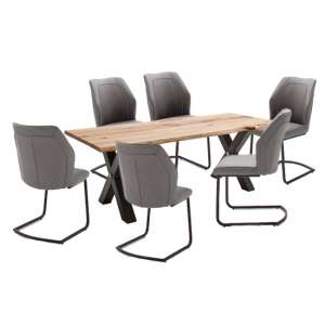 Austell Dining Set In Cracked Oak With 6 Aberdeen Grey Chairs
