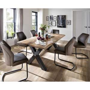 Austell Medium Dining Set In With 6 Aberdeen Brown Chairs