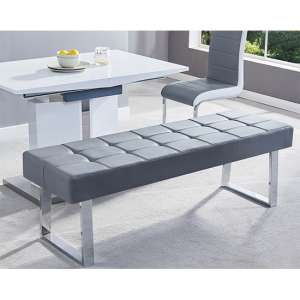 Austin Dining Bench Large In Grey Faux Leather With Chrome Base