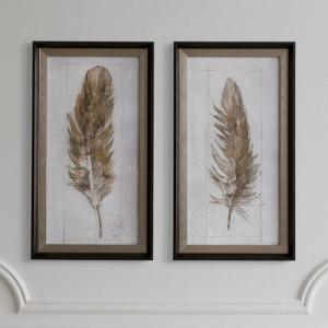 Set of 2 Autumn Feather Wall Art In Brown