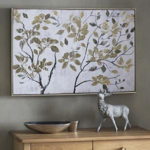 Contemporary Autumn Leaves Framed Wall Art In Cream And Gold