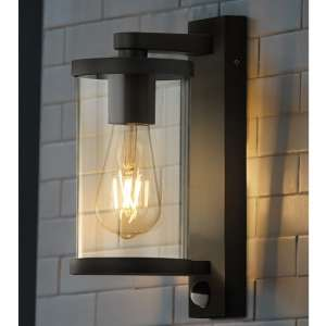 Auva Outdoor Wall Light With PIR In Black With Clear Glass