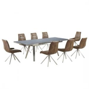 Ava Glass Extending Dining Table In Grey And 8 Mid Brown Chairs