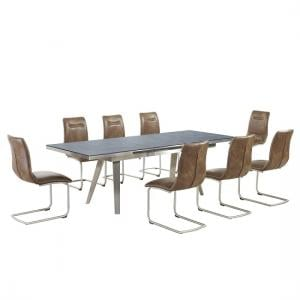 Ava Glass Extending Dining Table In Grey And 8 Warm Earth Chairs