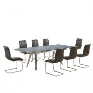 Ava Glass Extending Dining Table In Grey 8 Woodland Brown Chairs