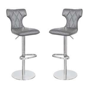 Ava Grey Leather Bar Stool In Pair
