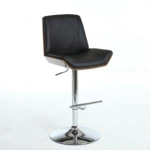 Avalon Bar Stool In Black PU And Walnut With Chrome Base