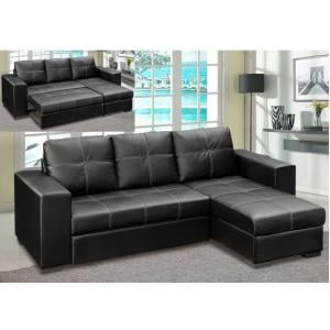 Avalon Corner Sofa Bed In Black Faux Leather With Storage