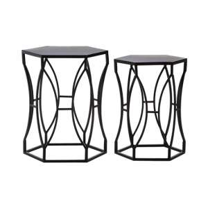 Avanto Set Of 2 Iron Side Tables In Black