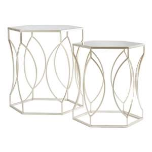 Avanto Set Of 2 Side Tables In Champagne With Mirrored Top