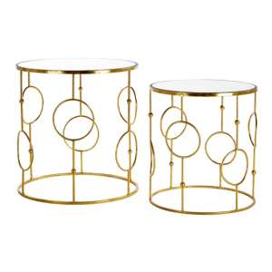 Avanto Set Of 2 Side Tables In Gold With Mirrored Top