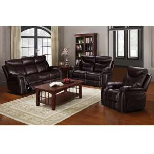 Avery Reclining Sofa Suite In Brown Faux Leather