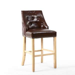 Avian Leather Match Bar Chair In Antique Brown With Wooden Legs
