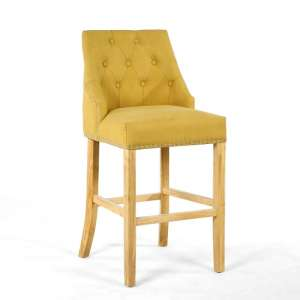 Avian Stonewash Effect Bar Chair In Yellow With Wooden Legs