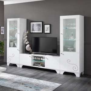 Avion Living Room Furniture Set In White High Gloss With LED