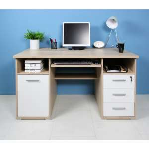 Ergonomic Wooden Computer Desk In Sonoma Oak And White
