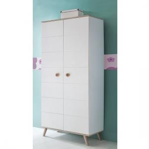 Avira Childrens Wardrobe Small In Alpine White And Oak Trims