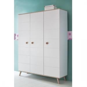 Avira 3 Doors Childrens Wardrobe In Alpine White And Oak Trims