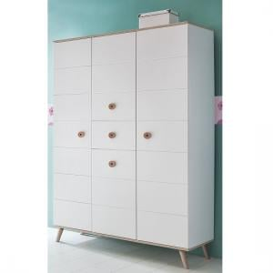 Avira Childrens Wardrobe Large In Alpine White And Oak Trims