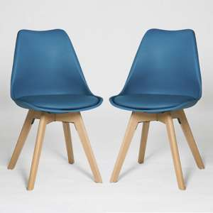 Regis Dining Chair In Blue With Wooden Legs In A Pair