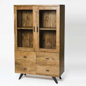 Avoca Display Cabinet In Acacia And Metal Legs With 2 Doors