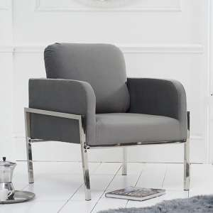 Avrob Velvet Accent Chair In Grey With Silver Chrome Legs