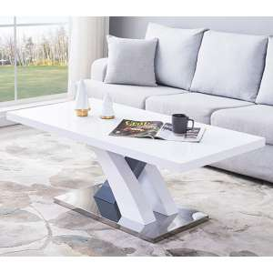 Axara Coffee Table Rectangular In White And Grey High Gloss