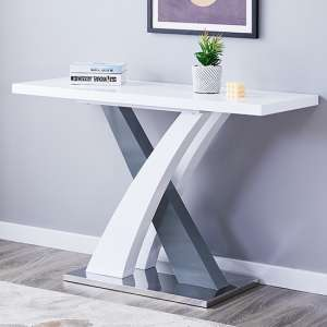 Axara Console Table Rectangular In White And Grey High Gloss
